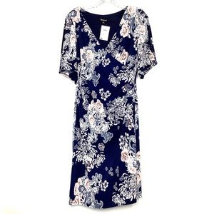 NWT NAVY BLUE FLORAL DAY DRESS